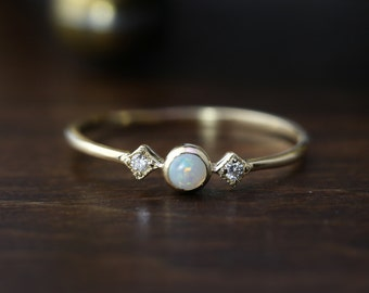 Small white opal ring 14k solid, 3mm natural opal, three stone ring, october birthstone jewelry, yellow rose white solid gold, sta-r103-opa