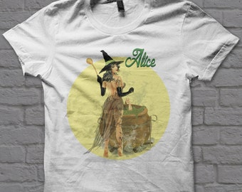 Alice The Witch-pin up girl-pin up art, classic pin up girl, witch pin up t-shirt