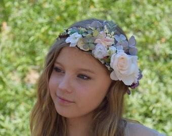 Lavender Gray, Ivory & Blush Flower Crown- Flower Girl Crown- Bridal Flower Crown- Flower Hair Wreath- Photo Prop- Wedding halo- Photography
