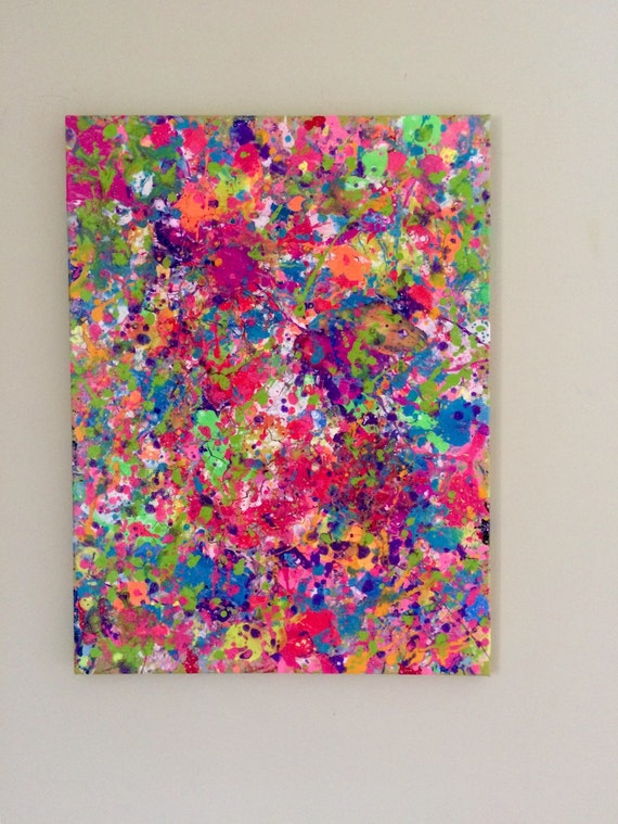Splatter Neon Art Neon Painting Abstract Canvas Art by ...