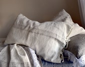 Grainsack Ivory Rustic Rough Heavy Weight Linen Pillow cases, set of 2. All sizes