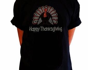 "Girls Rhinestone T-Shirt "" Turkey with Happy Thanksgiving "" in Kids Size 3 to 14"