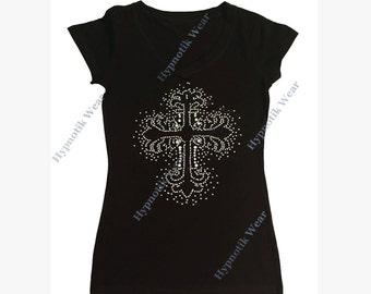 """Women's Rhinestone T-Shirt with """" Black Cross Splash Pattern """" in S, M, L, 1x, 2x, 3x"""