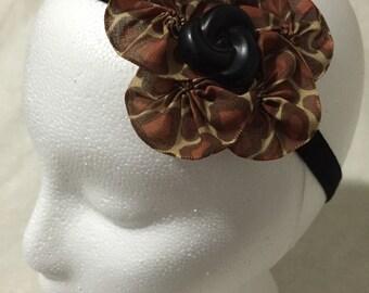 Cheetah print pinwheel hair clip