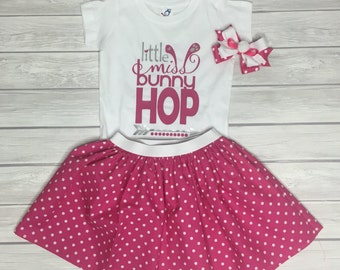 Little Miss Bunny Hop Outfit, Easter Shirt, Skirt, & Bow Set, Easter Outfit, Girls' Outfit