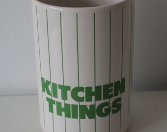 Hornsea Kitchen Things Utensils Storage Container 80s White / Green