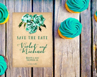 Rustic Save The Date Cards in Green / Southern Weddings in Southern Style Rustic Weddings / PRINTED 5x7 Save The Dates / Teal Green Weddings