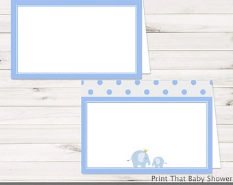 Baby Shower Food Tent Labels - Blue Elephant Baby Shower - Printable Food Labels - Blue Elephant Place Cards - Food Labels - Baby Blue Dots