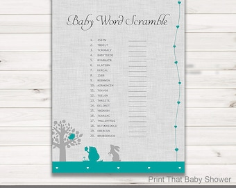 Baby Shower Games - Baby Word Scramble Game - Woodland Baby Shower - Woodland Shower Games - Baby Names Game - Woodland Silhouettes