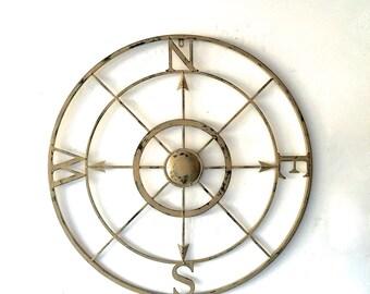 Large Wall Art, Compass, Metal Compass, Nautical Decor, 42