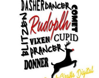 Reindeer Rudolph SVG Dasher Dancer Comet Blitzen Christmas SVG DXF