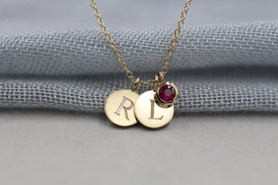 "14k solid gold 1/4"" initial necklace personalized necklace custom necklace"