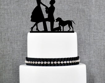 Engaged Couple with Dog or Cat, Unique Wedding Cake Topper, Elegant Customizable Couple with Dog Cake Topper- (T212)