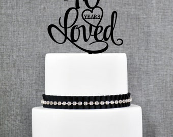 40 Years Loved Birthday Cake Topper, Elegant 40th Cake Topper, 40th Anniversary Cake Topper- (T244-40)