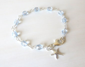 Beach Lovers Starfish Light Sapphire Beaded Charm Bracelet