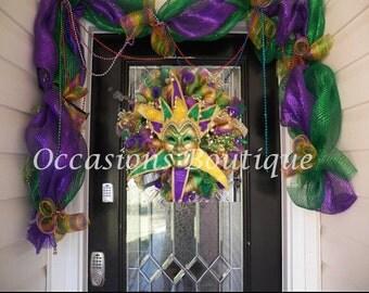 Mardi Gras Wreath with Matching Garland, Mardi Gras Decoration, Wreath and Garland, Door Garland, Front door wreaths