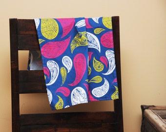 Linen Kitchen Tea Towel Blue Paisley