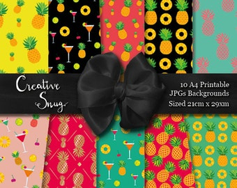 Tropical Pineapple Cocktail Party Summer BBQ Celebration Patterned Paper Digital Pack 10 x A4 Printable Backgrounds Instant Download