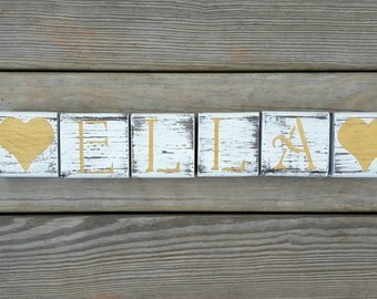Distressed Wooden Name Blocks, Baby Shower Gift, Custom Blocks, Baby Wood Blocks, Nursery Blocks, Wedding Blocks, Photo Prop