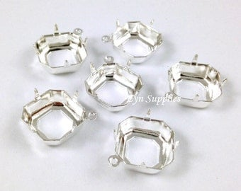 Square Setting 12x12mm Sterling Silver Plated OPEN BACK Prong with 1 Loop 10pcs Octagon Cushion Cut Fits Swarovski 4470