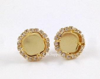 Rhinestone Gold Earrings Stud Settings Fits 12mm Cushion Cut Swarovski Crystal 4470