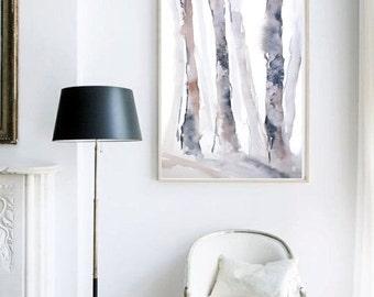 Tree Decor, Forest Watercolor Print, Tree Art Watercolor Painting, Living Room Art, Watercolor Art, Brown Wall Decor,Fine Art Giclee Print