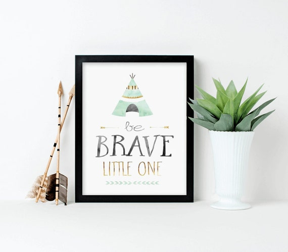 Nursery Wall Art, Be Brave Little One, Tribal Nursery, Mint and Gold, printed, canvas, framed #565