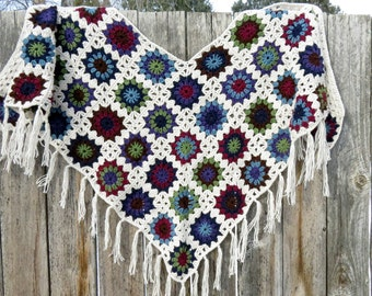 Crochet Triangle Scarf, Granny Square Shawl, V-Neck, Triangle Shawl/Scarf with Fringe