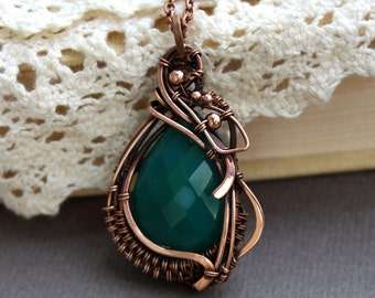 Onyx Pendant  Wire wrapped pendant Copper jewelry  teardrop necklace Wire wrapped necklace  Green necklace OOAK jewelry handmade