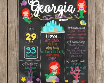 Printable Mermaid Birthday Chalkboard, First birthday Chalkboard, Mermaid Birthday Sign, 2nd Birthday Chalkboard, Mermaid Sign