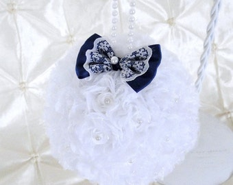 """Flower Ball White Rose Kissing Ball 5"""" Pomander Choose Bow Color Flower Girl Bouquet Bridesmaid Bouquet Free Hair Pin Wedding Flowers"""