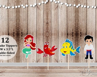 Mermaid Party - Set of 12 Assorted Mermaid and Friends Inspired Double Sided Toppers