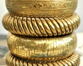 Four Boho Ethnic Brass Bangles