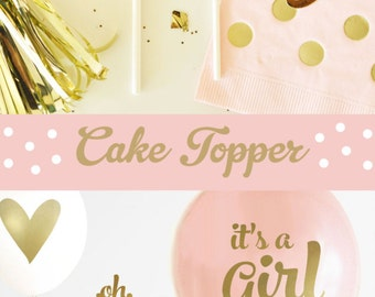 OH BABY Cake Topper - Gold Baby Shower Cake Topper - Pink and Gold Baby Shower Cake Topper - Girl Baby Shower Decorations (EB3116)