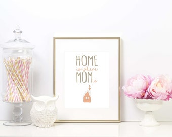 Downloadable Print, Home is where mom is, printable wall art, Mother's day print, gift for mom, mother's day gift, mom print