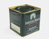 Fortnum  Mason Famous Teas Tin  tea caddy dark forest green red small metal kitchen storage box coffee old vintage souvenir British London
