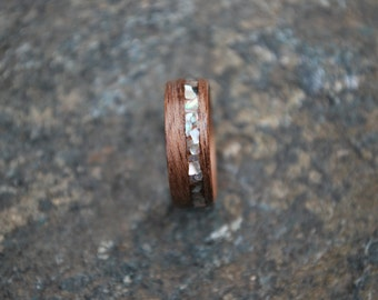Wood ring - Bent Wood Ring - Black Walnut Wood Ring - Abalone Inlay Wood Ring - Custom Wood Ring - Fifth Anniversary Gift - Wooden Ring