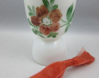 Vintage Hand Painted Milk Glass Egg Cup