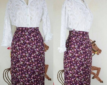 50s Floral Skirt | 50s Pencil Skirt | 50s Wiggle Skirt | 50s Cotton Skirt | 50s Purple Skirt | 1950s Skirt | 50s Skirt | 25 Waist