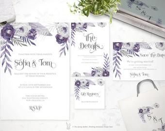 Printable Wedding Invitation Suite - Purple and Silver Wedding Invite - Customizable Wedding Invites - DIY Wedding Invitation Set