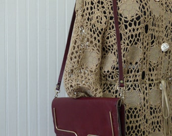 Vintage Burgundy Clutch Shoulder Bag - Original Removeable Strap - Fully Lined - Zippered Pocket - Fair Condition - Vintage Purse or Clutch
