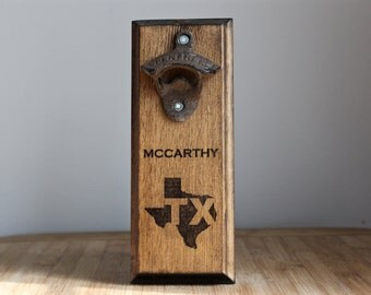 Wall Mount Rustic Bottle Opener - TX Texas state