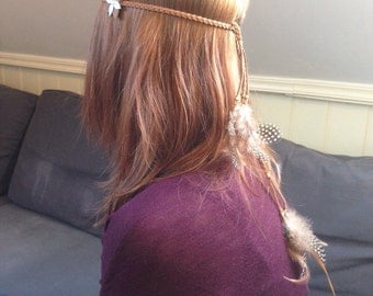 Bohemian suede braided headband, brown with feathers and flower detail.