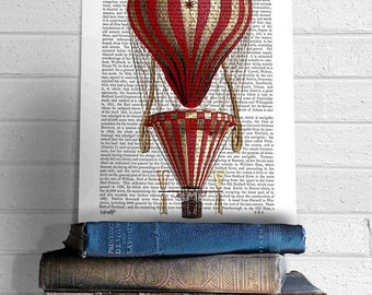 Tiered Red Vintage Hot Air Balloon Print, Upcycled Dictionary Print, Balloon Illustration wall art wall decor wall hanging, book page art