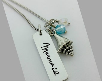Hand stamped 'Mermaid' Necklace, I'm Really A Mermaid, The Sea is Calling, Mermaid Jewelry, Little Mermaid, Quote, Nautical