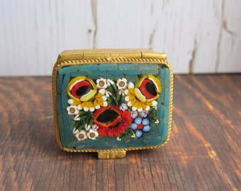Micro Mosaic Pill Box- Small Pill Box with Flowers- Tiny Collectible Box- 60's Pill Box