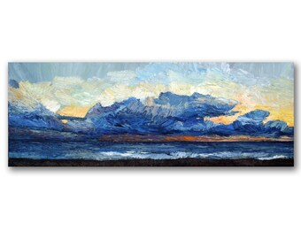 Seascape oil painting, sky with clouds painting, sunset over the sea, contemporary art