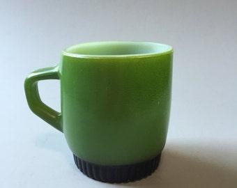 GREEN MILK GLASS Mug, Anchor Hocking mug, vintage green mug, coated milk glass mug, Small Milk Glass Mug, Fire King mug, small coffee cup