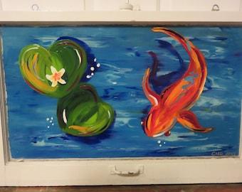 Hand Painted Window, Koi Fish, Fish Painting, Sea Life, Repurposed Window, Painted Window, Home Decor, Wall Decor