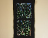 View from the Garden Window nuno-felt wall hanging / tapestry / textile art